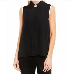 VINCE CAMUTO Black/White Button Down pleated tank